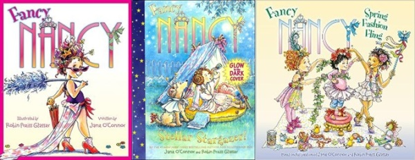 Fancy Nancy (the original), one of the shorter hardcovers, and one of the 8x8 paperbacks.