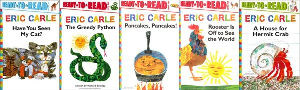 The first five Eric Carle Ready to Read readers.